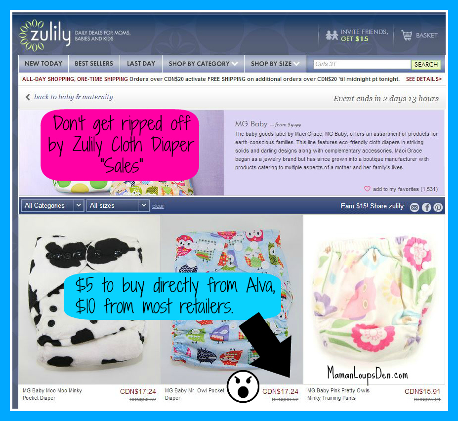 Watch out for Cloth Diapers on Zulily ~ Maman Loup's Den