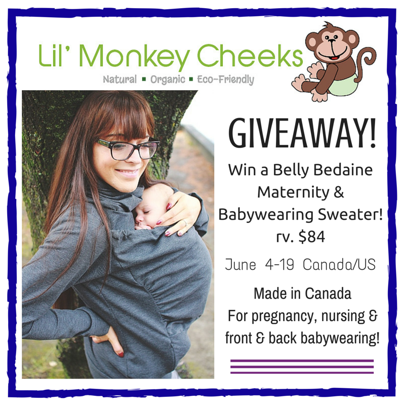 Win a Belly Bedaine Maternity & Babywearing Sweater from Lil' Monkey Cheeks