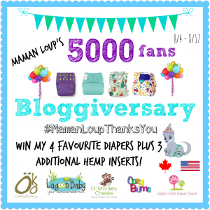Happy Bloggiversary to Me… let's get to 5000 Facebook Fans! #winallthediapers