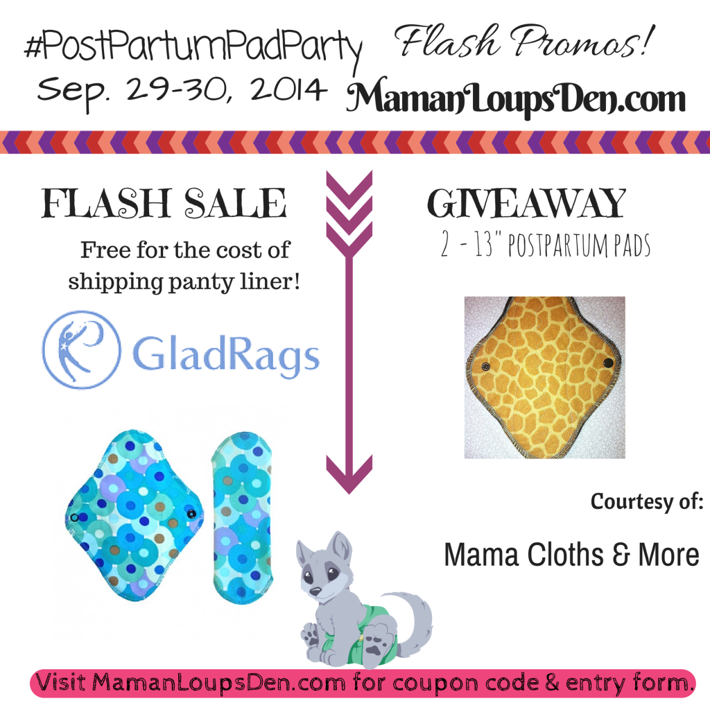 Flash Giveaway 1 #PostPartumPadParty