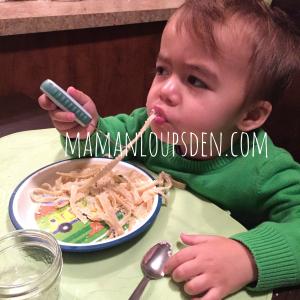 Cub eats Fettucine Alfredo