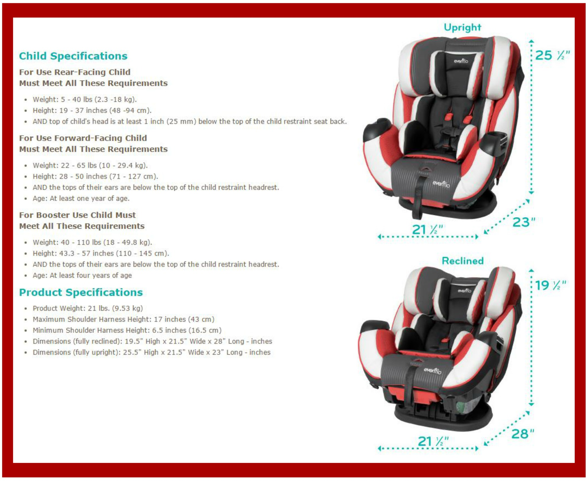 Evenflo Symphony 65 Car Seat Manual