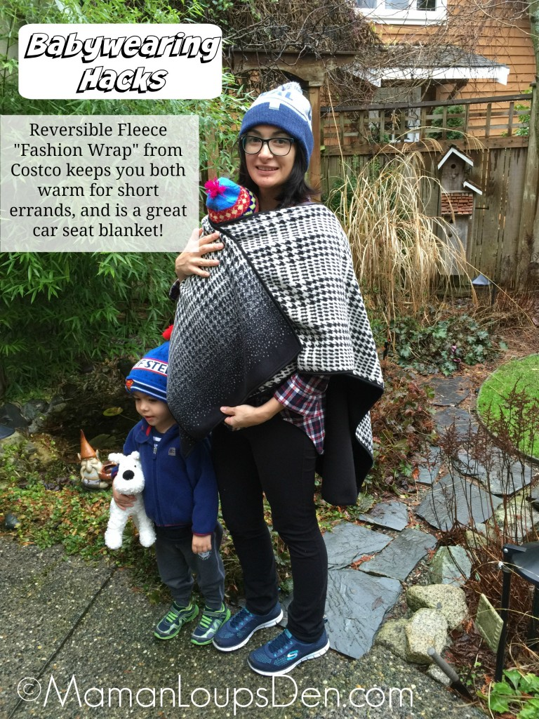 Fleece Wrap from Costco Makes a Great Babywearing Cover - Maman Loup's Den - Babywearing Hacks