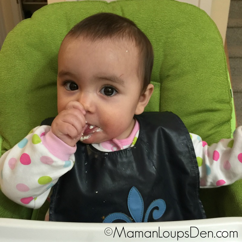 Little Miss Cub starts eating solids