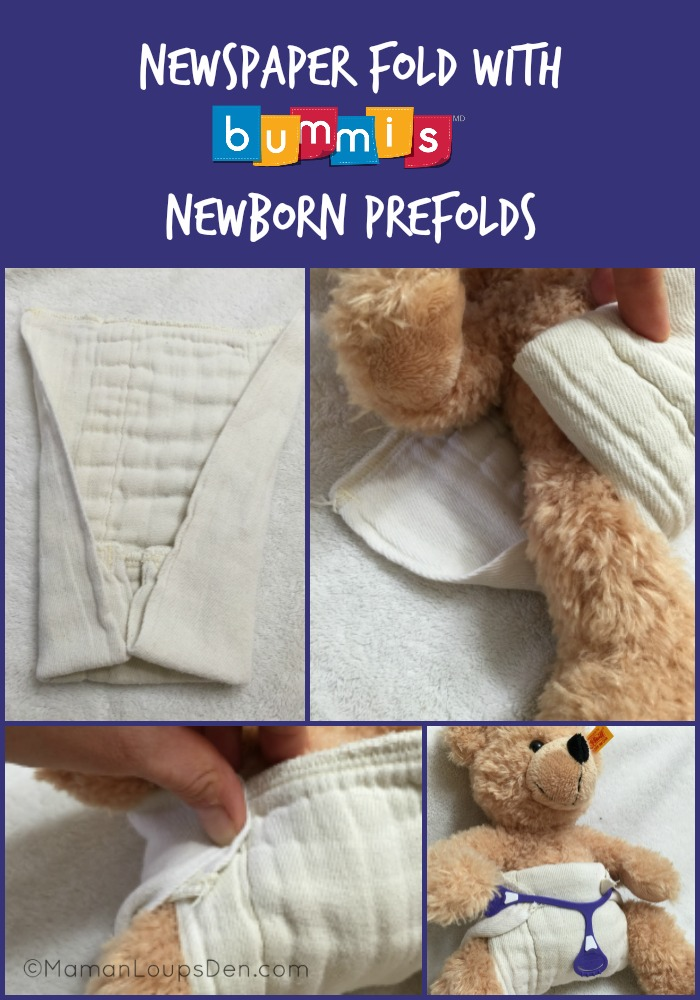 Newspaper fold with Bummis Newborn Prefolds