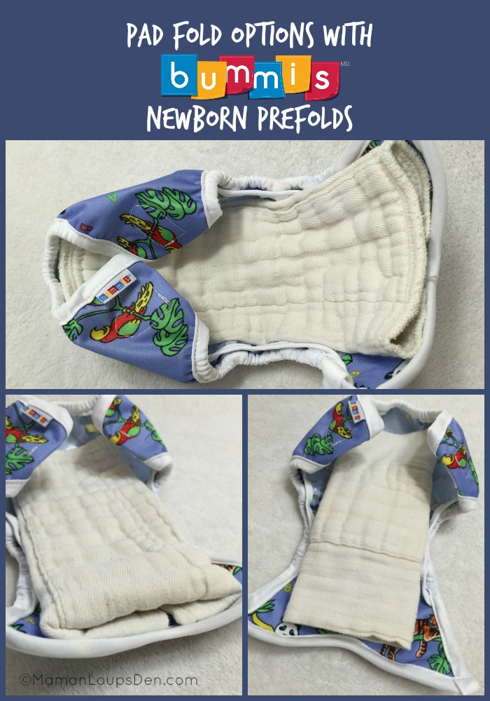 Pad Fold Options with Bummis Newborn Prefolds