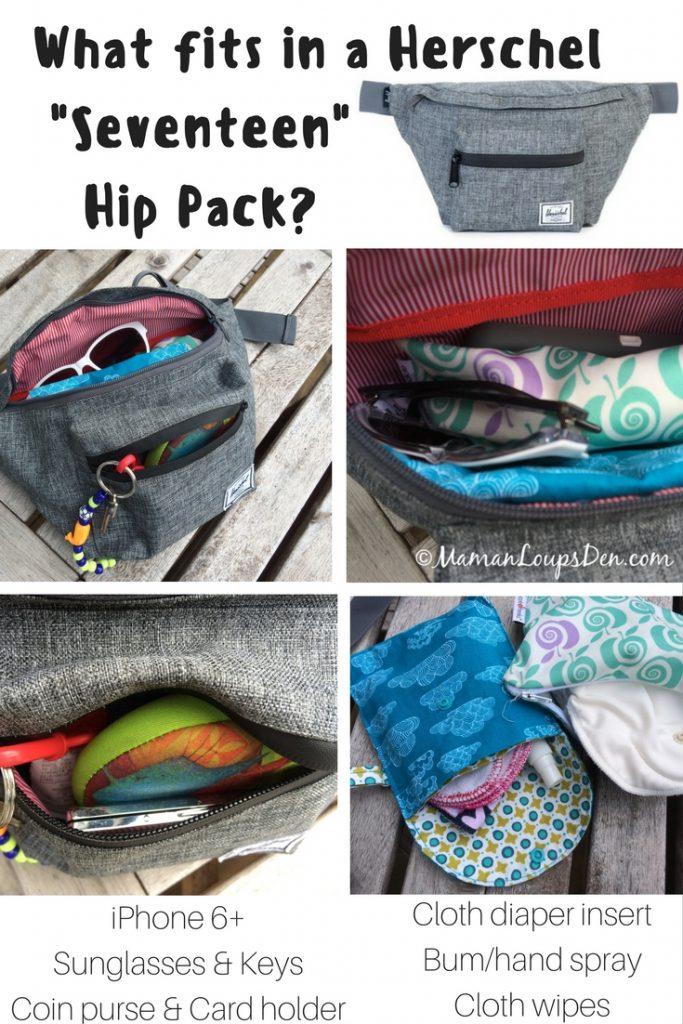 What fits in a Herschel Seventeen Hip Pack-