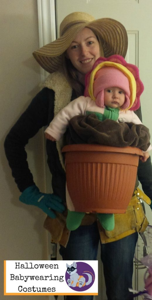 Babywearing Halloween Costume: Gardener and Flower Pot