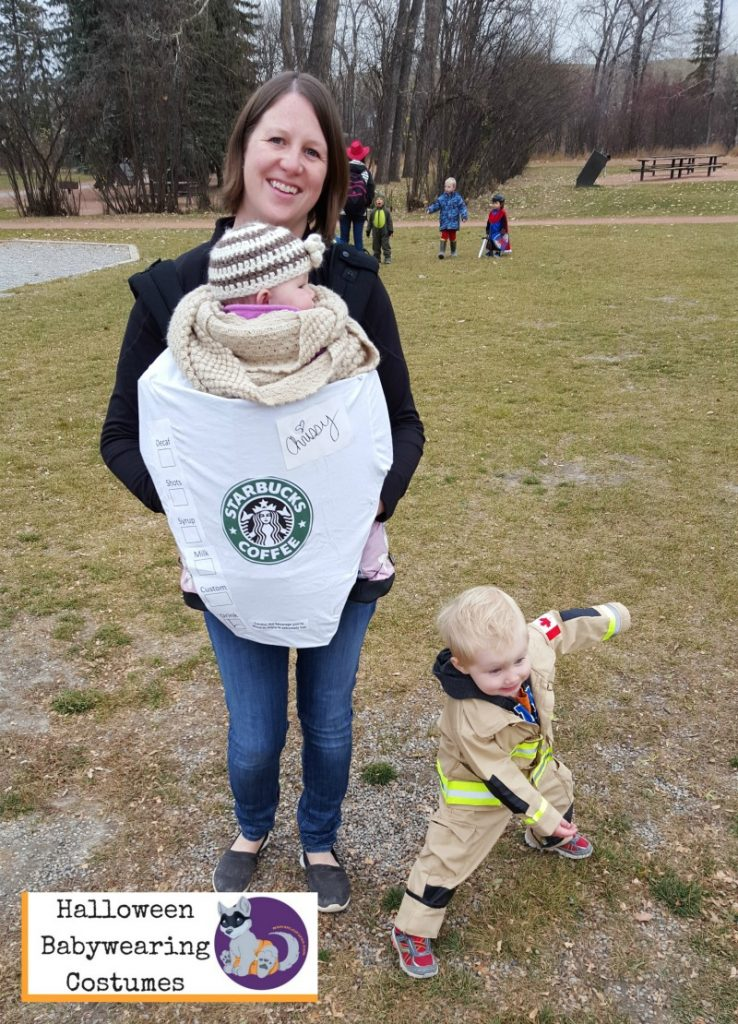Halloween Babywearing Costume Idea: Starbucks Latte