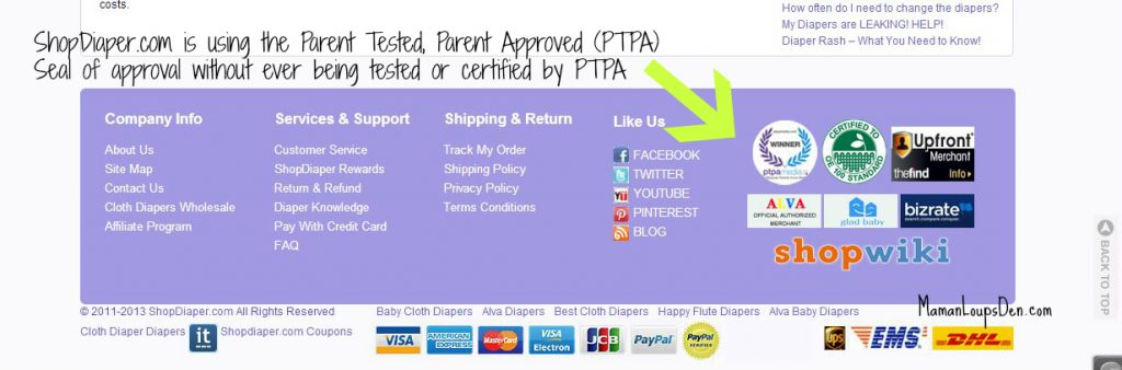 Calling ShopDiaper.com Out on False Advertising: Not PTPA Certified!