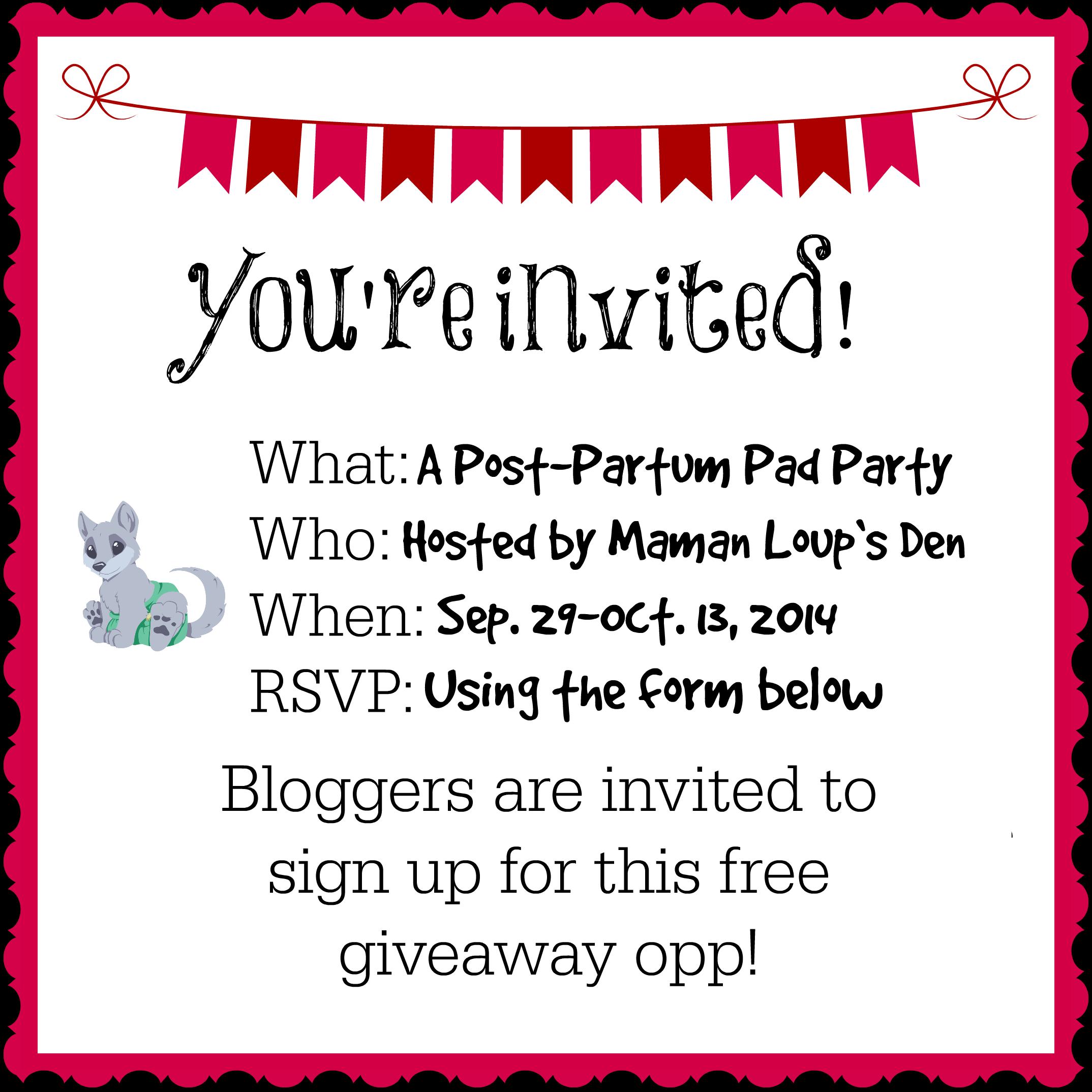 Post Partum Pad Party Invite Bloggers – Maman Loup's Den