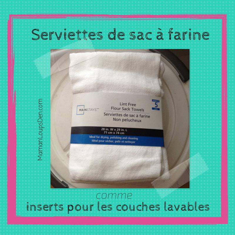 Serviettes de sac de farine pour les couches lavables