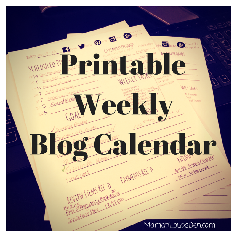 Printable WeeklyBlog Calendar