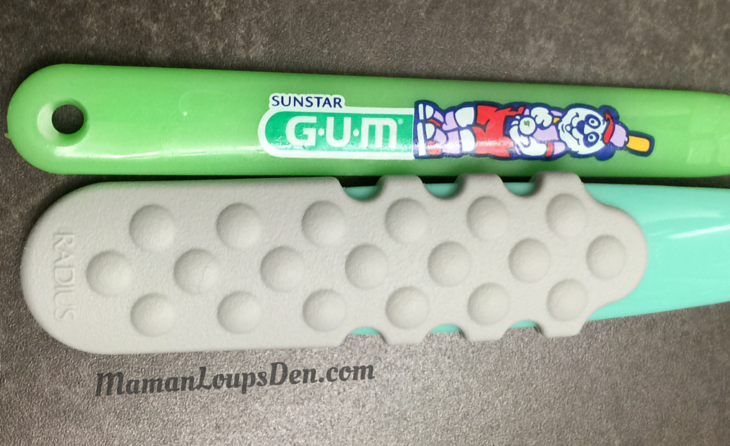 RADIUS new TOTZ toothbrush compared to regular one ~ Maman Loup's Den