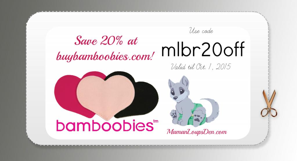 Save 20% on Bamboobies ~ Maman Loup's Den