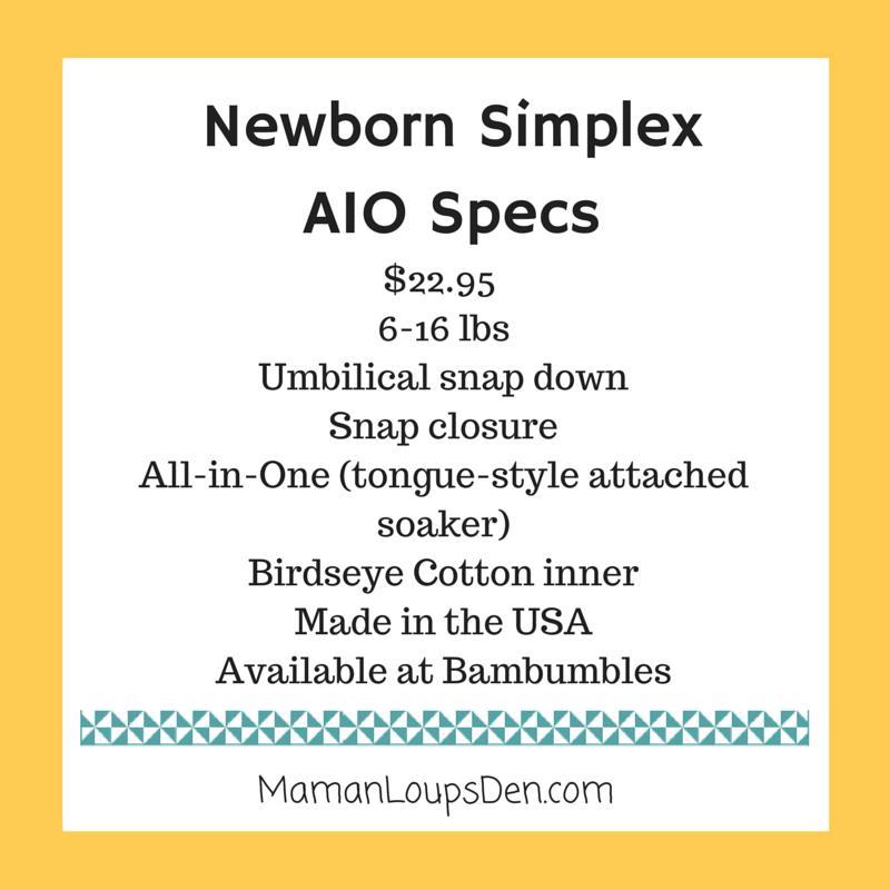 Blueberry Simplex Newborn AIO Review ~ Maman Loup's Den ~ Specs