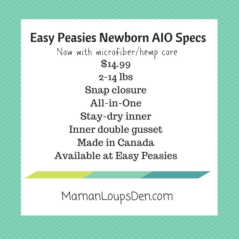 Easy Peasies Newborn AIO Review ~ Maman Loup's Den ~ Specs