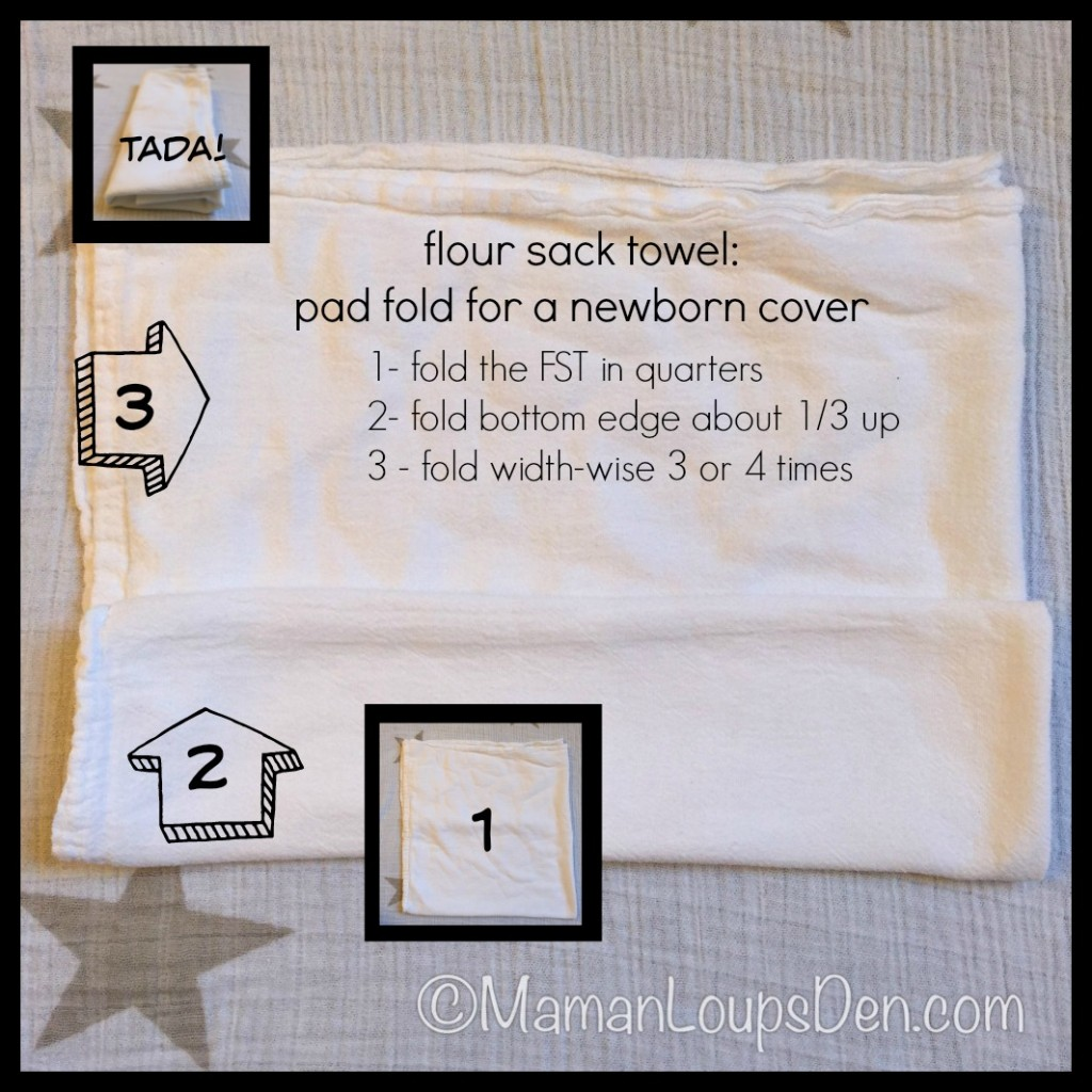 Flour Sack Towel in a Pad Fold for Newborn Cloth Diaper Covers - Maman Loup's Den