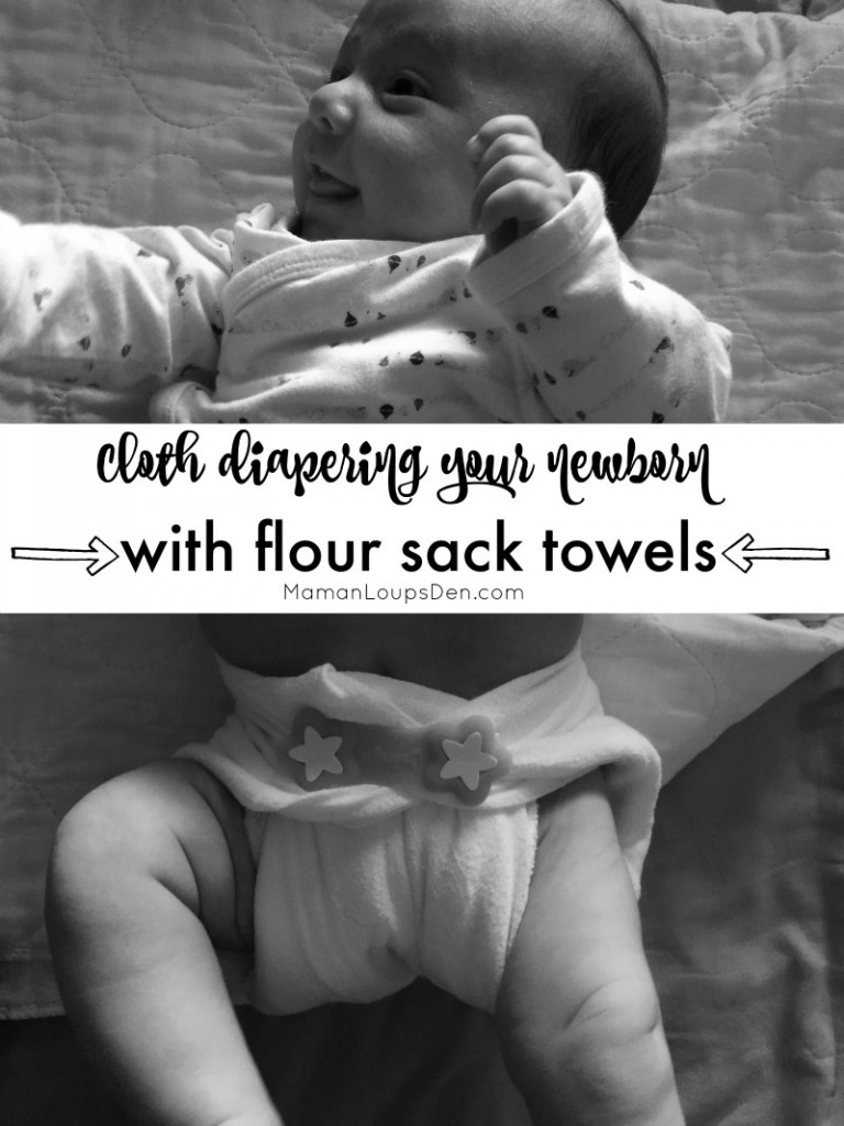 How to Cloth Diaper Your Newnborn with Flour Sack Towels - Maman Loup's Den