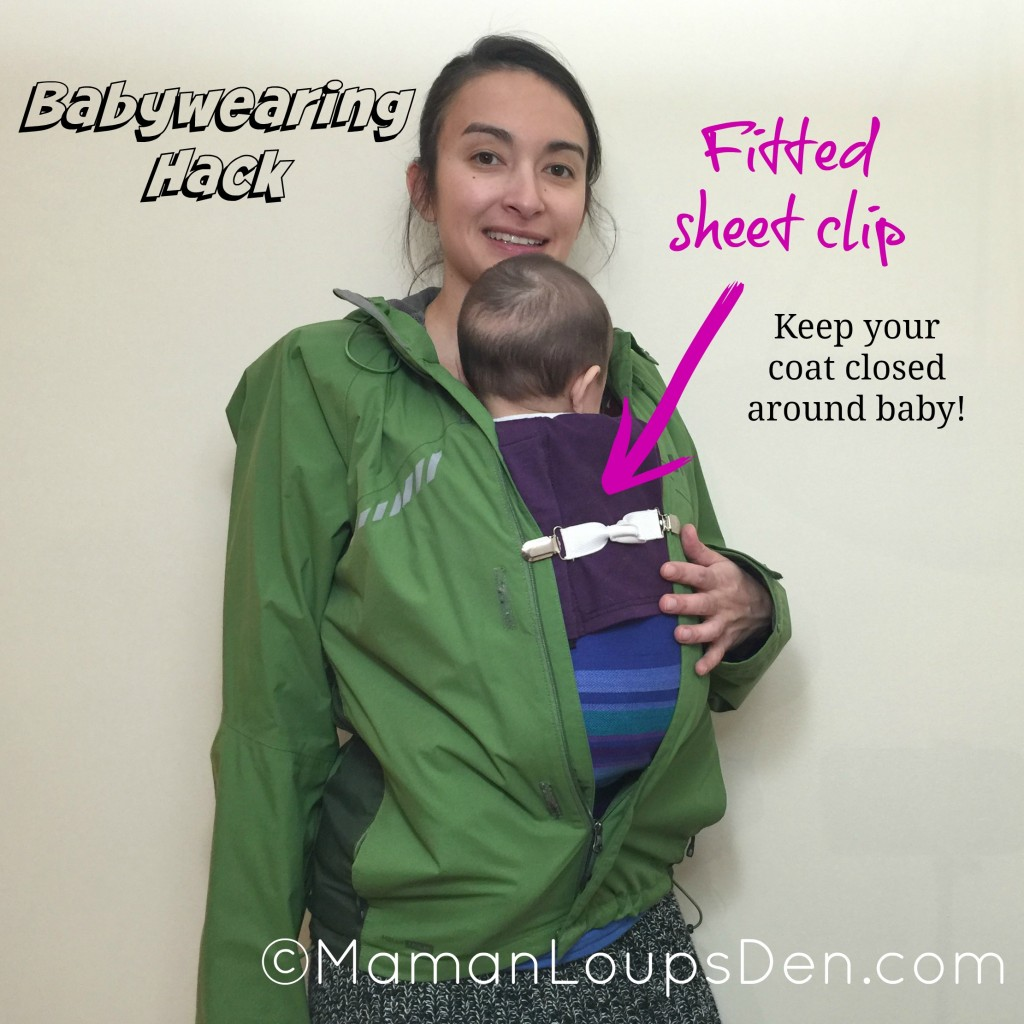 Fitted Sheet Clips to Keep Coat Closed Around Baby - Babywearing Hack - Maman Loup's Den