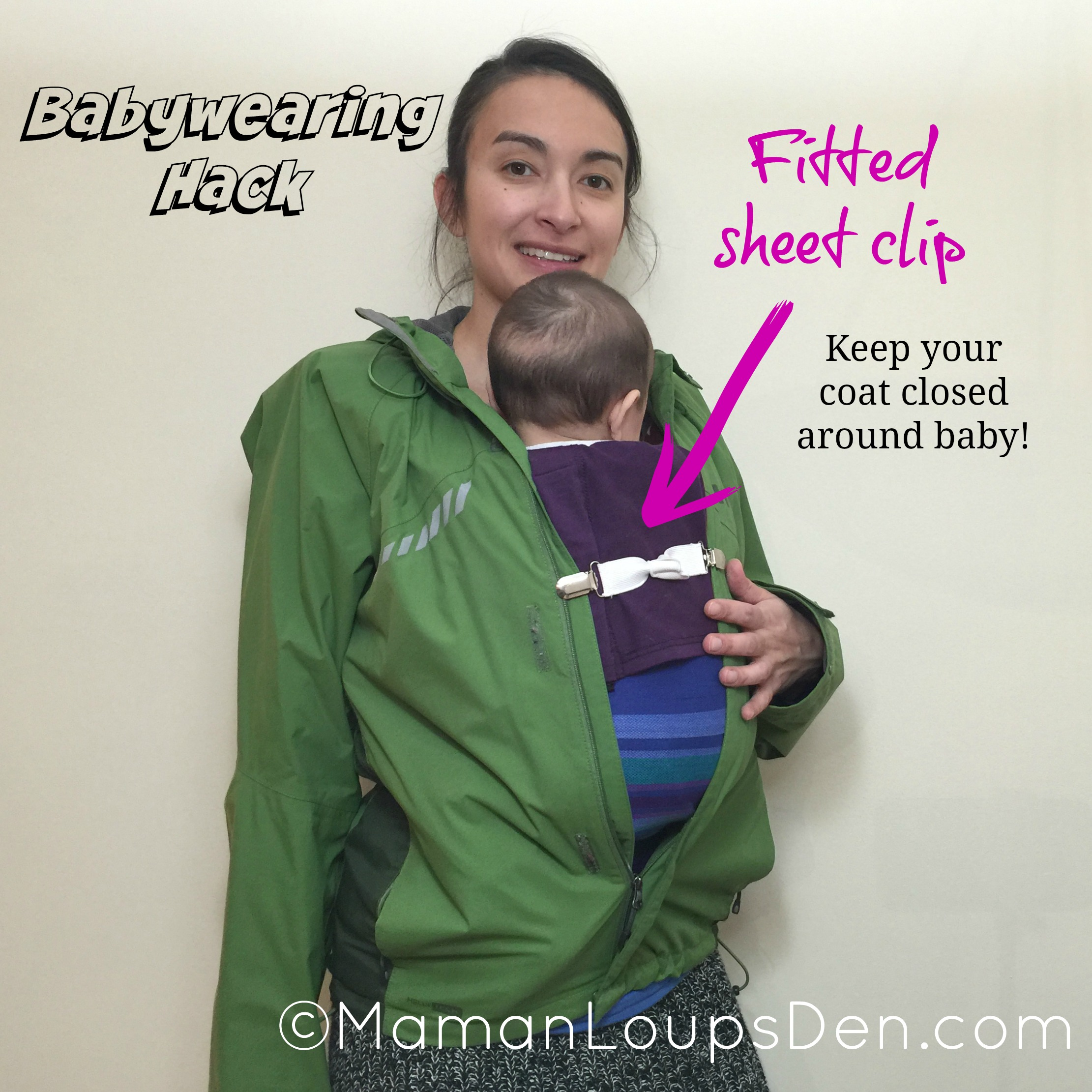 501e9b8d3f9 Fitted Sheet Clips to Keep Coat Closed Around Baby - Babywearing Hack -  Maman Loup s Den