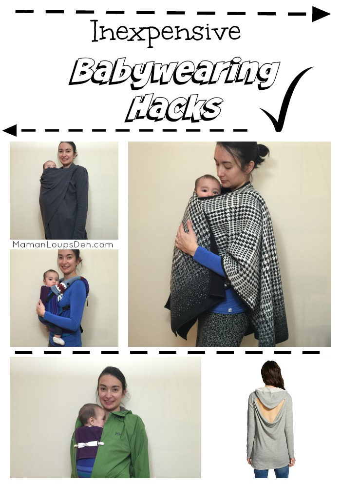 Inexpensive babywearing hacks ~ Maman Loup's Den: Use a Costco poncho or a Target sweater as a cover... use baby legwarmers as drool pads!