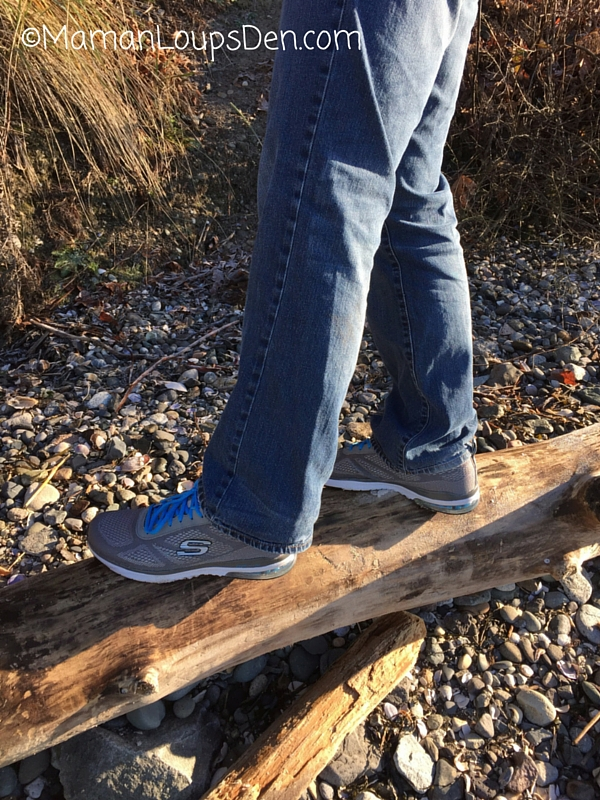 Skechers Memory Foam His and Hers Review ~ Maman Loup's Den ~ Papa on the log