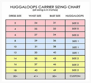Huggaloops Size Chart