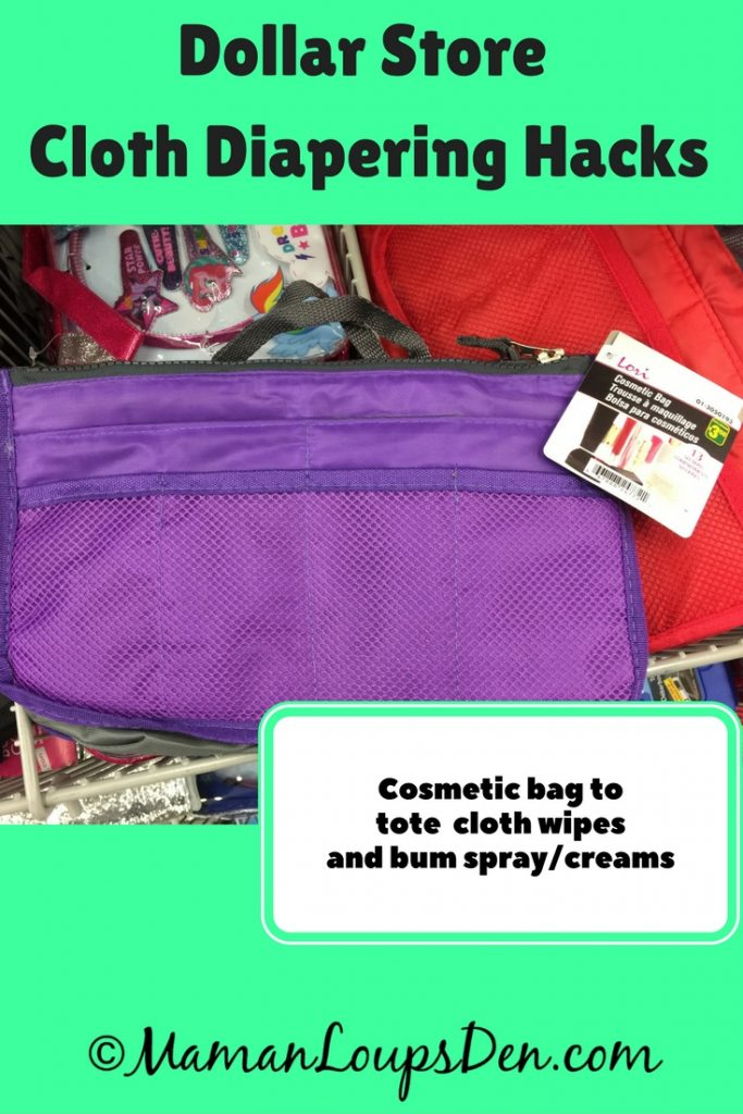 Dollar Store Cloth Diapering Hack: Cosmetic pouch to tote wipes