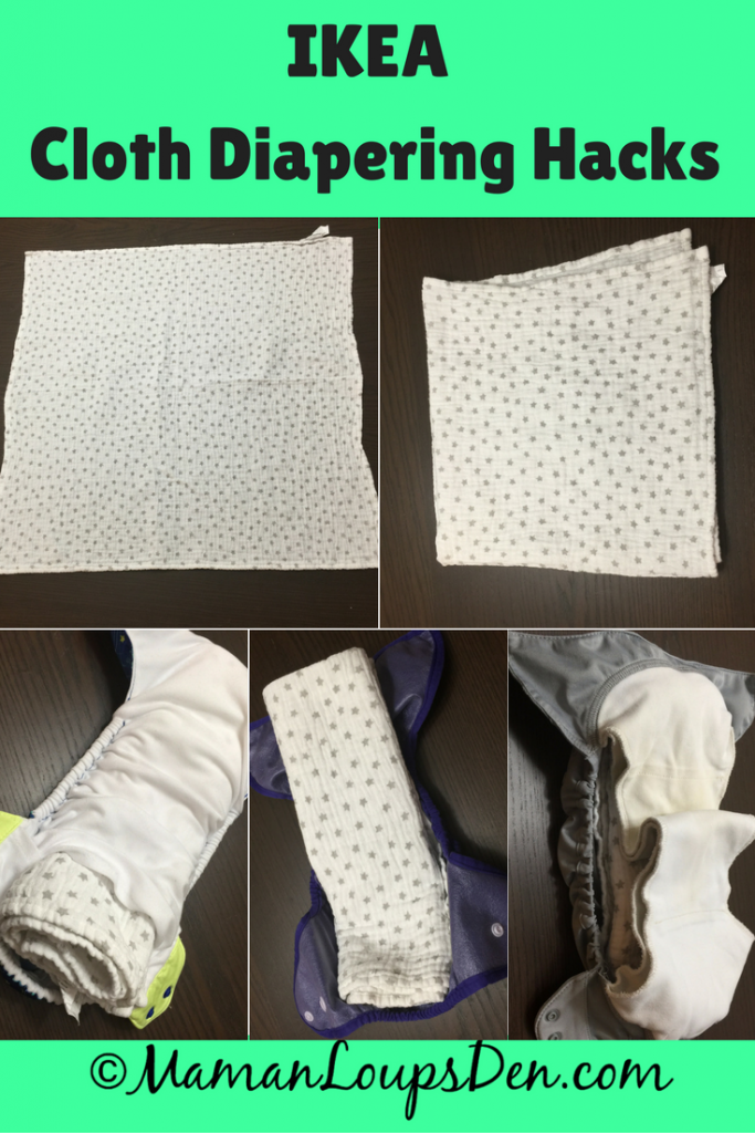 Ikea Cloth Diapering Hacks: Use items found at Ikea to save even more money cloth diapering! My favourite item? Ikea flats! (Himmelsk Burp Cloths) Here's how I pad fold the burp cloths!