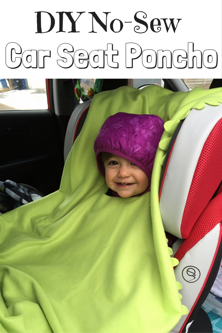 DIY No-Sew Car Seat Poncho from an IKEA Blanket